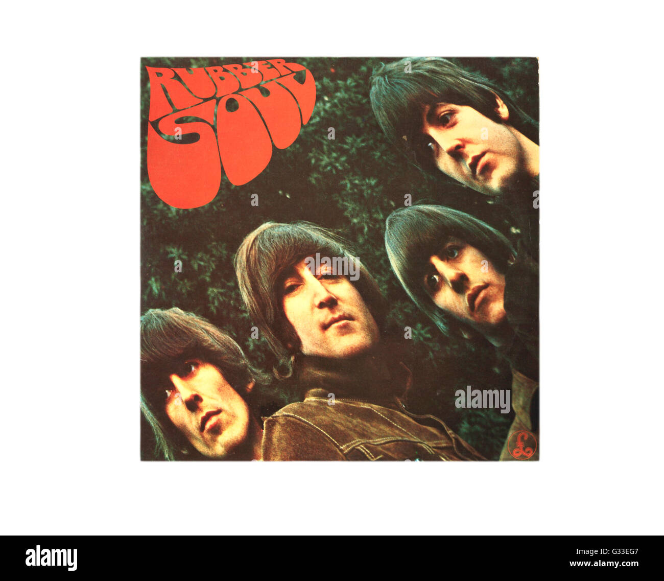 Rubber Soul long playing album cover by The Beatles. Stock Photo