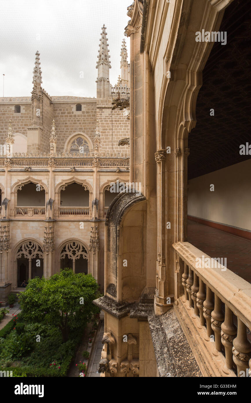 Monastery of Saint John of the Kings in Toledo Spain architect Juan Guas interior cloister and garden - Stock Image
