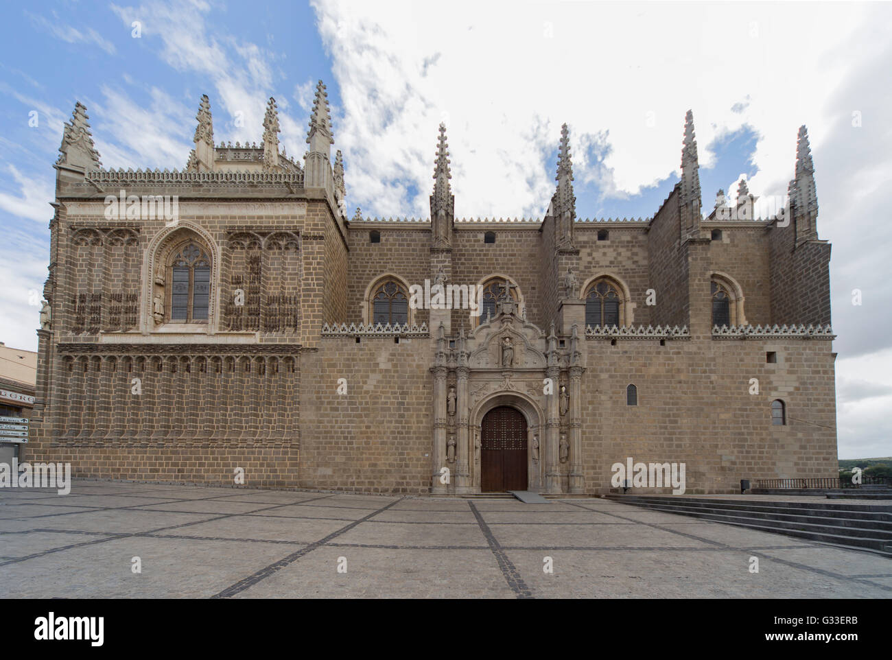 exterior of Monastery of Saint John of the Kings in Toledo Spain architect Juan Guas . (The Monastery of San Juan - Stock Image