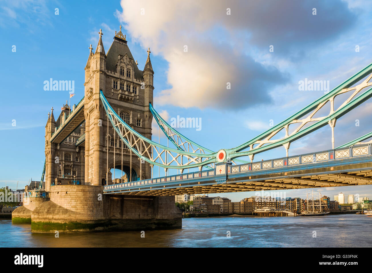 Tower Bridge in London during sunset with a closer look at the suspender design - Stock Image