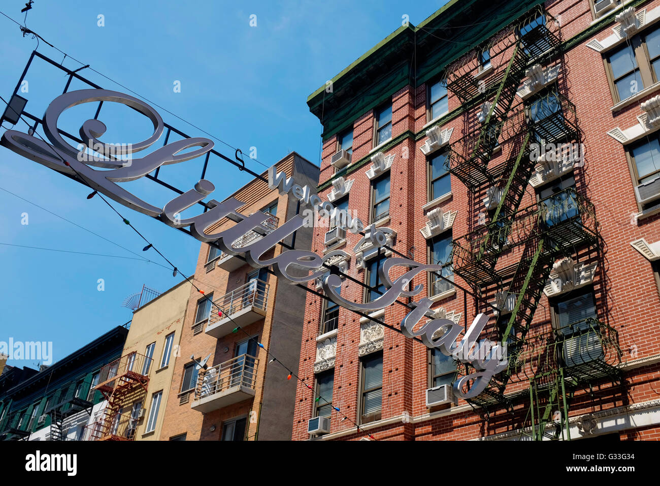 Little Italy in New York City. - Stock Image