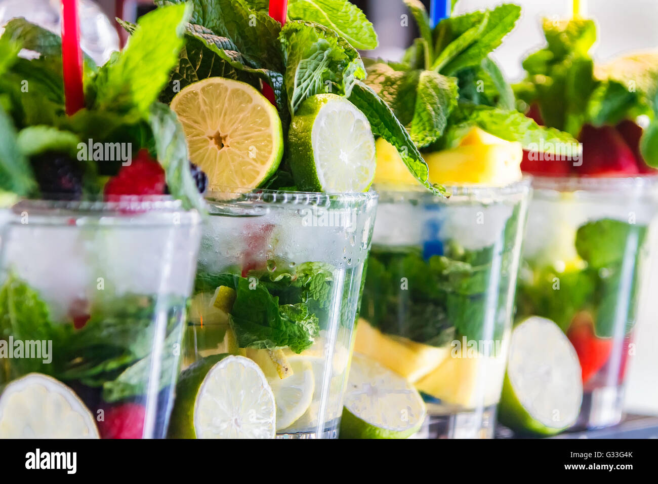 Detox water with fruit for cleanse body and burn fat - Stock Image