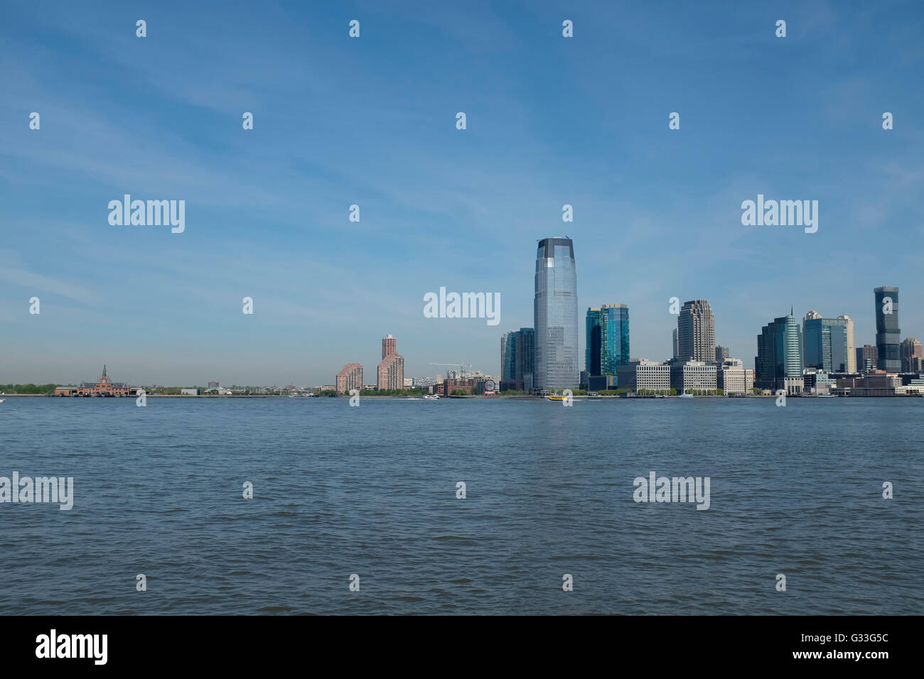 The skyline of lower downtown Manhattan, New York City, featuring the new One World Trade Center by architect David - Stock Image