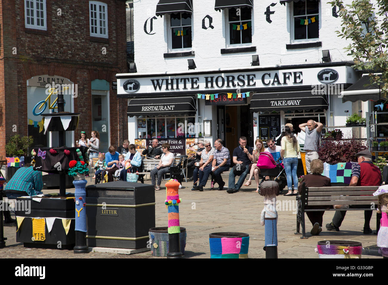 The market square in Thirsk, North Yorkshire in England - Stock Image