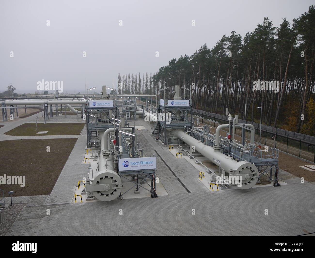 Nord Stream gas pipe terminal in north of Germany - Stock Image