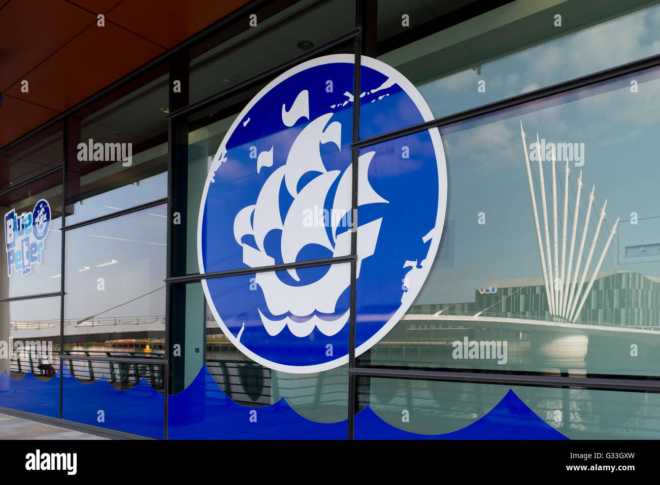The Blue Peter children's TV show logo on the side of a building at MediaCityUK in the Salford Quays area of - Stock Image