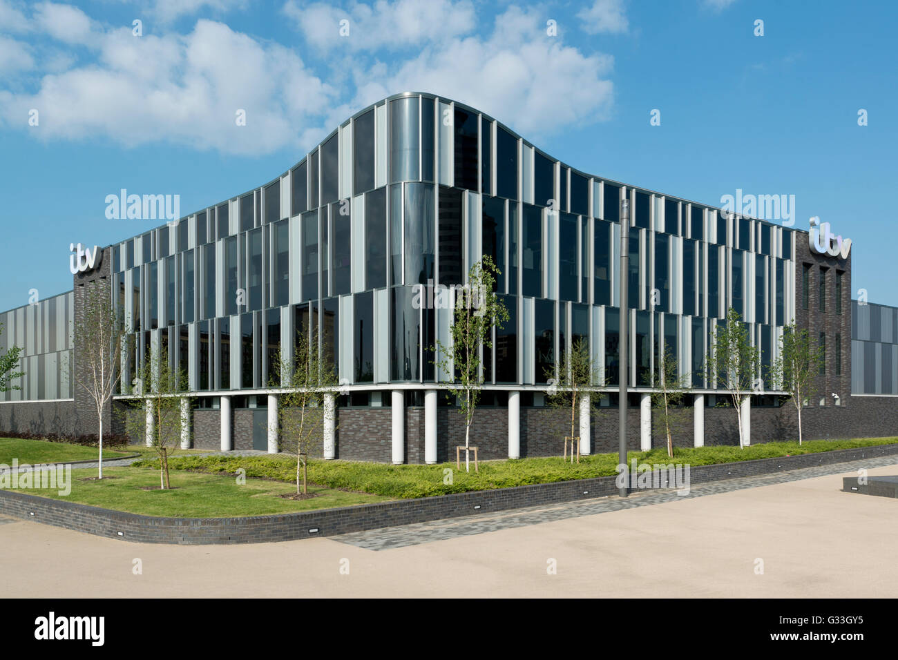 The new ITV Granada Studios located in MediaCityUK, in the Salford Quays area of Greater Manchester. - Stock Image