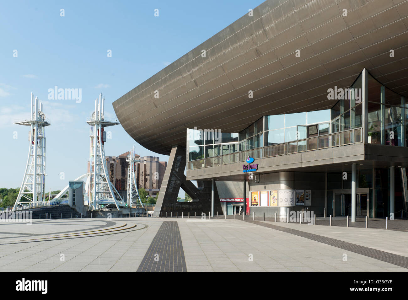 The Lorwy Arts Centre and complex in Salford Quays by the Manchester Ship Canal near Media City. - Stock Image