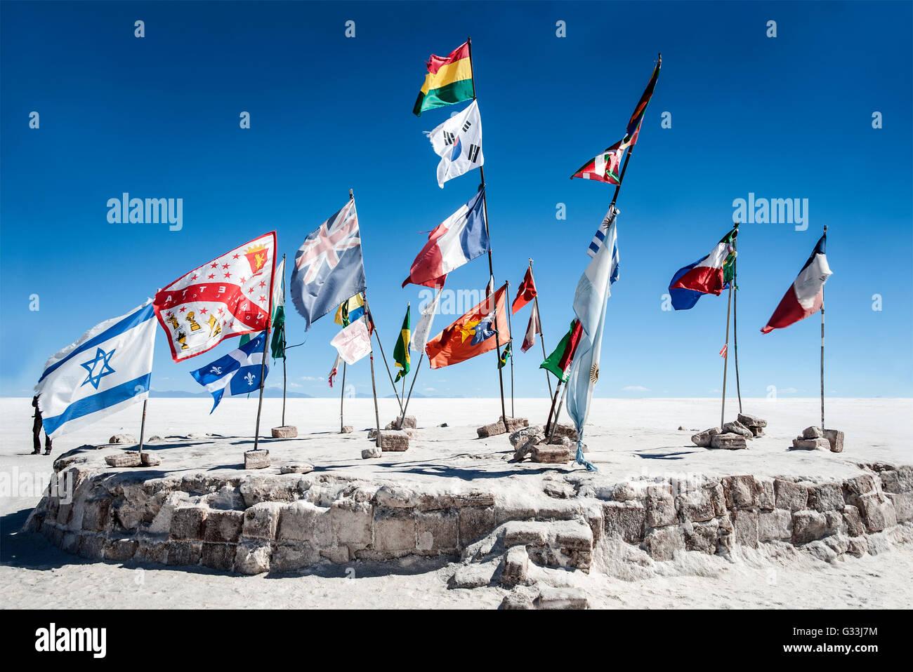 Salt lake - Salar de Uyuni in Bolivia - Stock Image