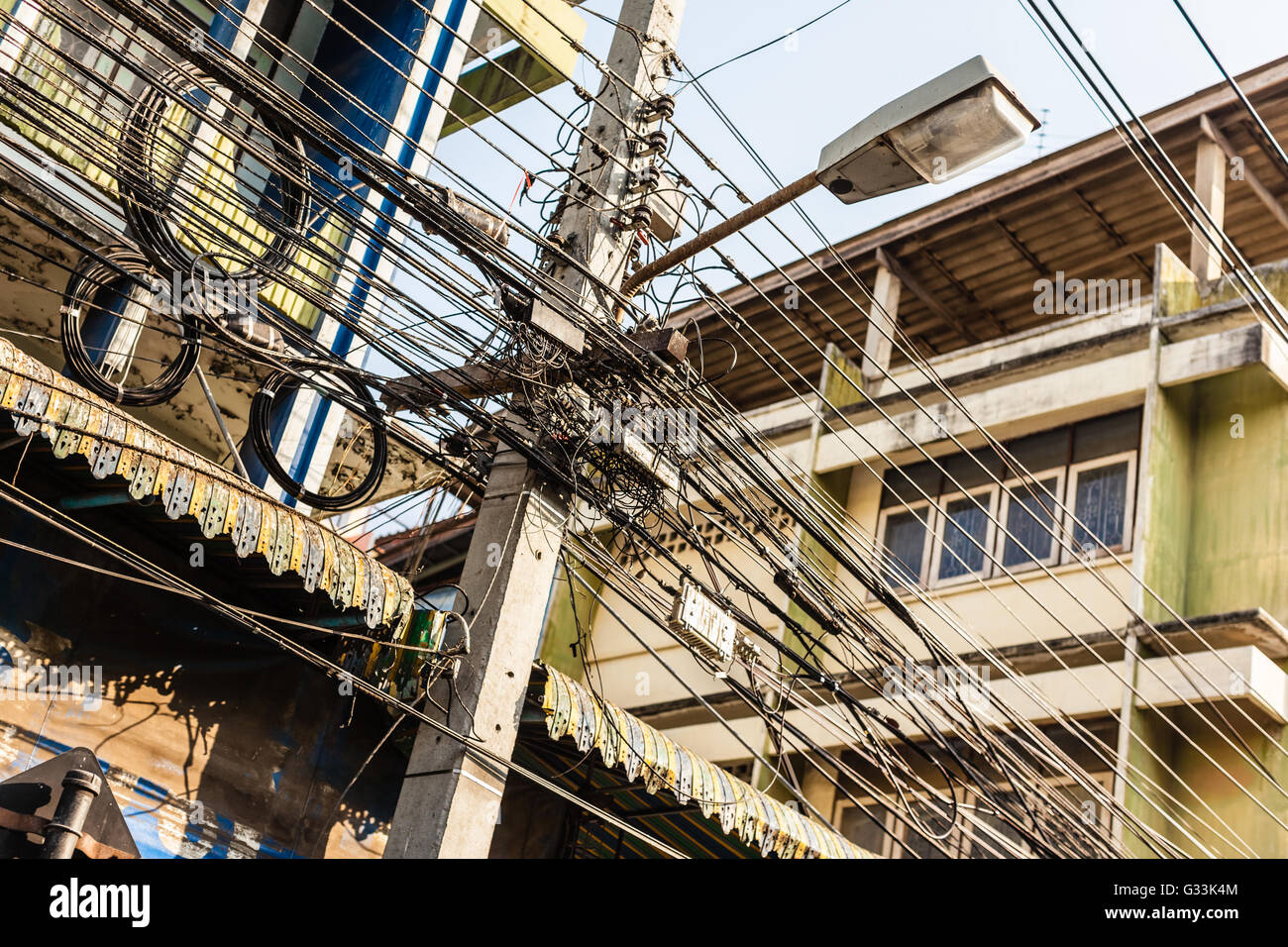 Unsafe Electrical Wiring Stock Photos Free Photography Electric Meter Messy Installation Tangled And Cables In Bangkok City Image