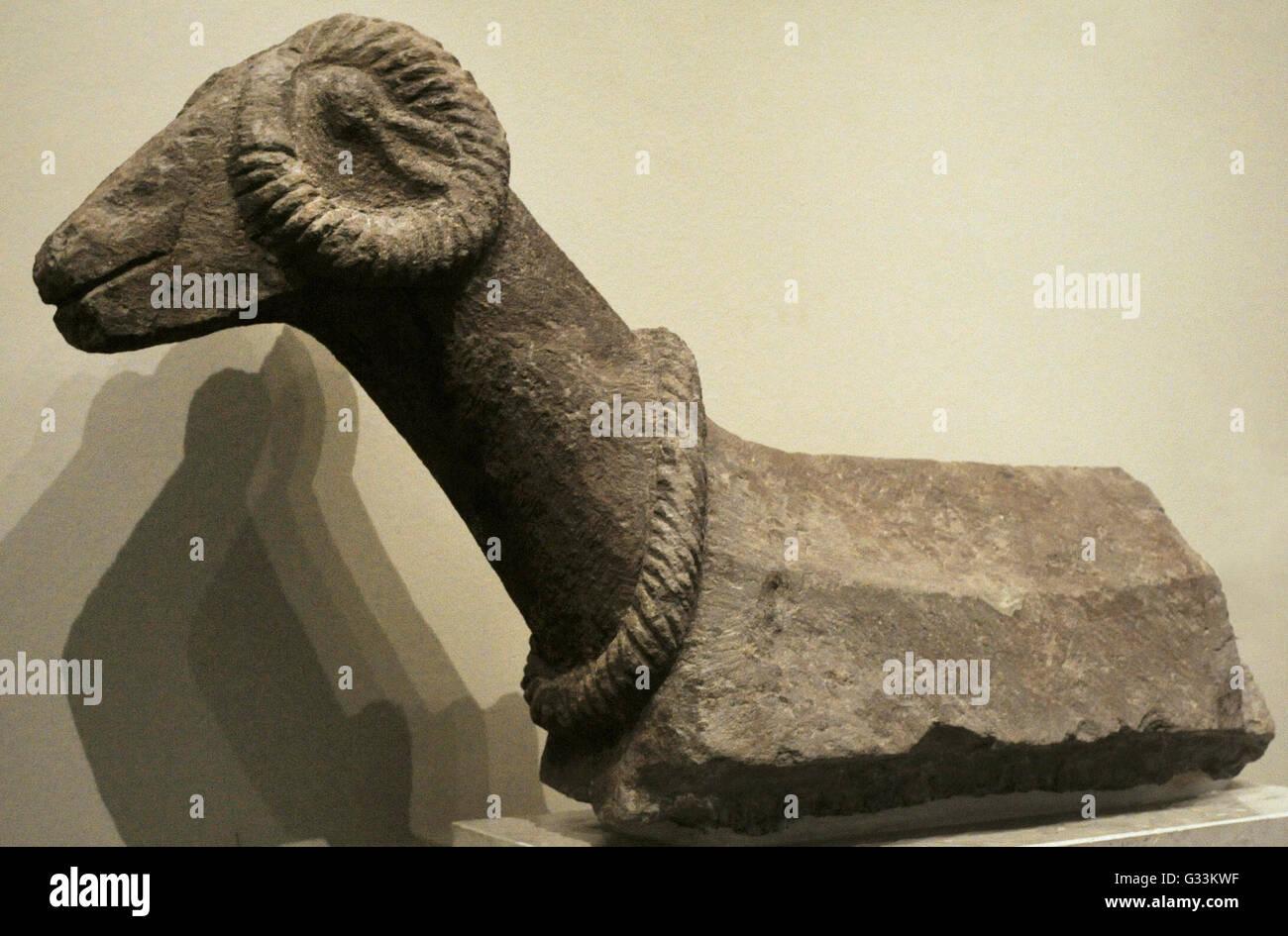 Caucasia. Middle Ages. Ram. Stone; carving. Kintsvisi. 12th century. Georgia. The State Hermitage Museum. Saint - Stock Image