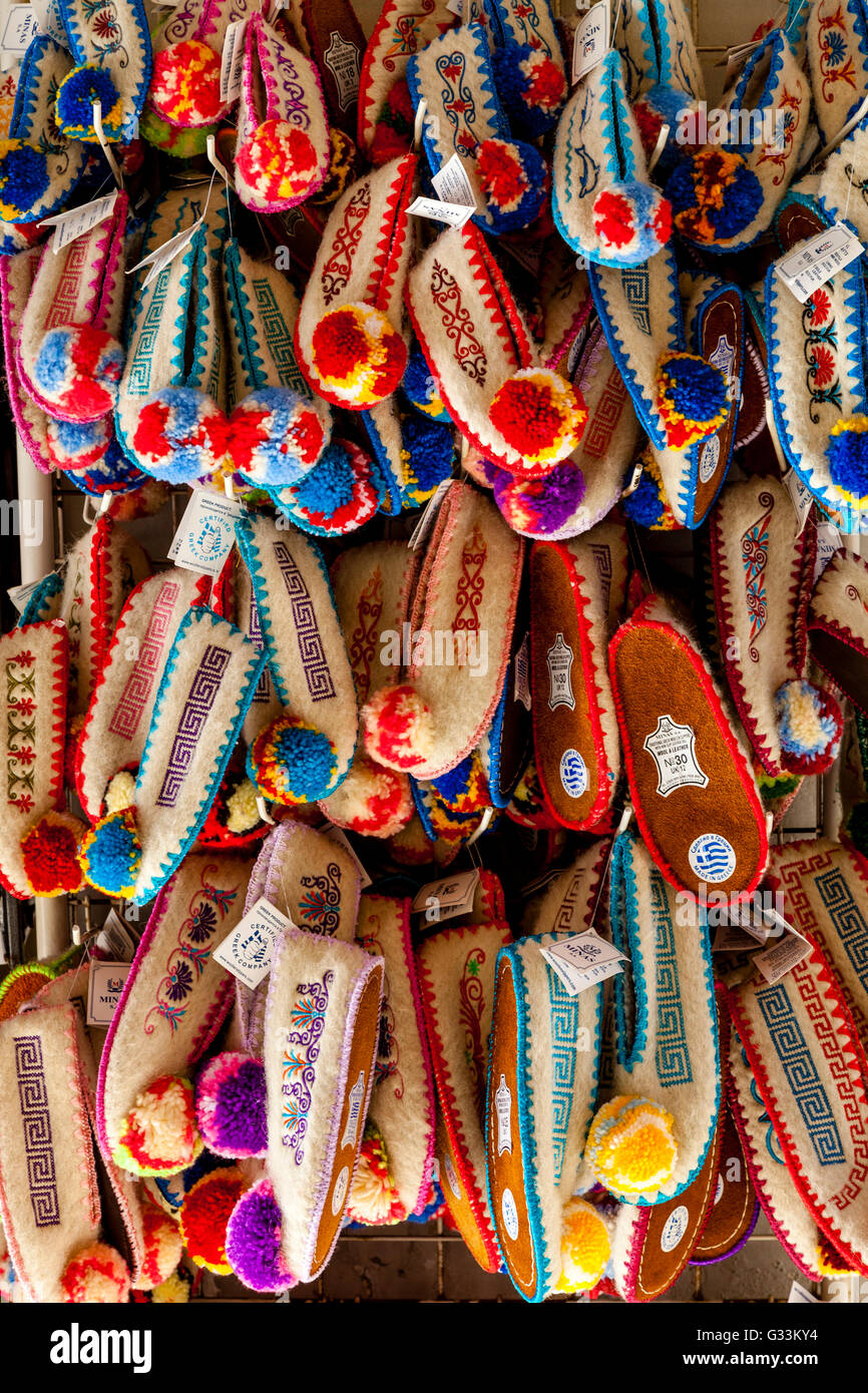 Traditional Woollen Slippers For Sale, Corfu Old Town, Corfu, Greece - Stock Image