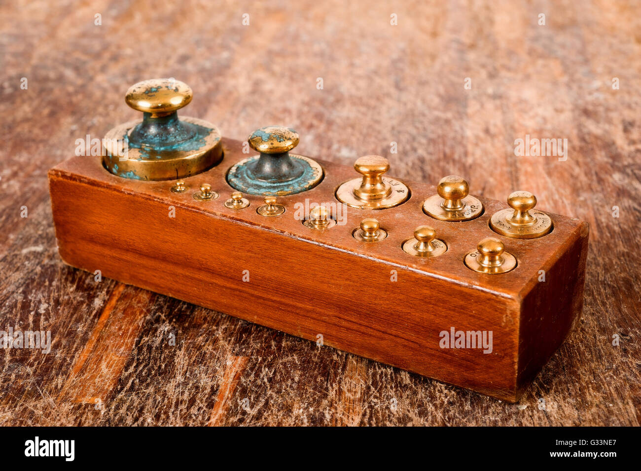 Old weights for precision balance - Stock Image