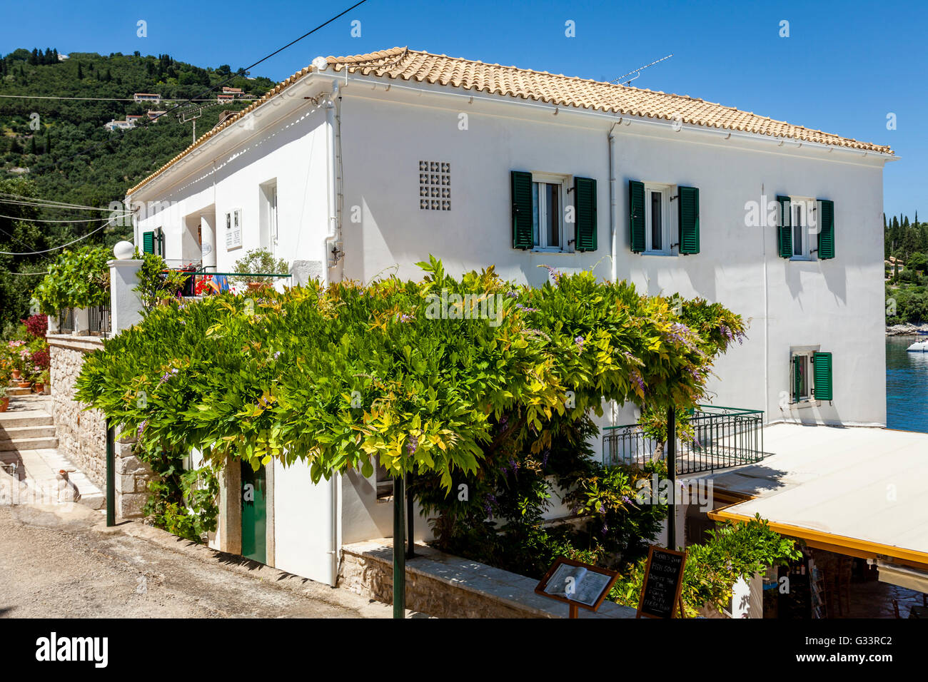 The White House ( Childhood Home of British Authors Gerald & Lawrence Durrell ) Kalami, Corfu Island, Greece. - Stock Image