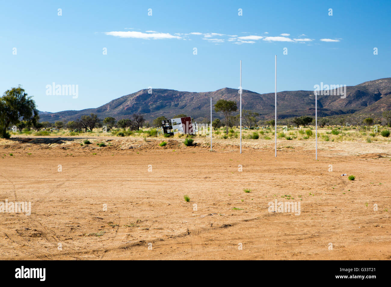A sports ground in the Aborginal town of Atitjere in the Harts Ranges, Northern Territory, Australia - Stock Image