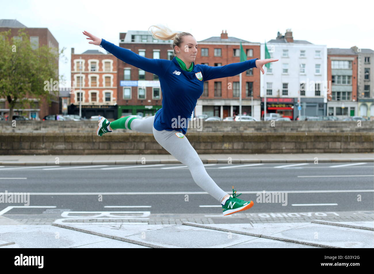 Gymnast Ellis O'Reilly during the Team Ireland official 2016 kit launch, Wood Quay, Dublin. - Stock Image