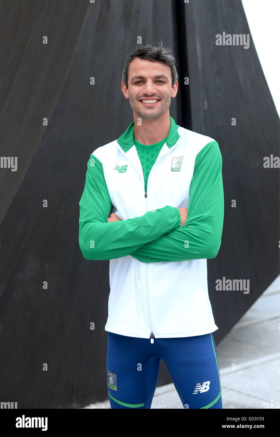 Athlete Thomas Barr during a the Team Ireland offical 2016 kit launch. Wood Quay, Dublin. - Stock Image