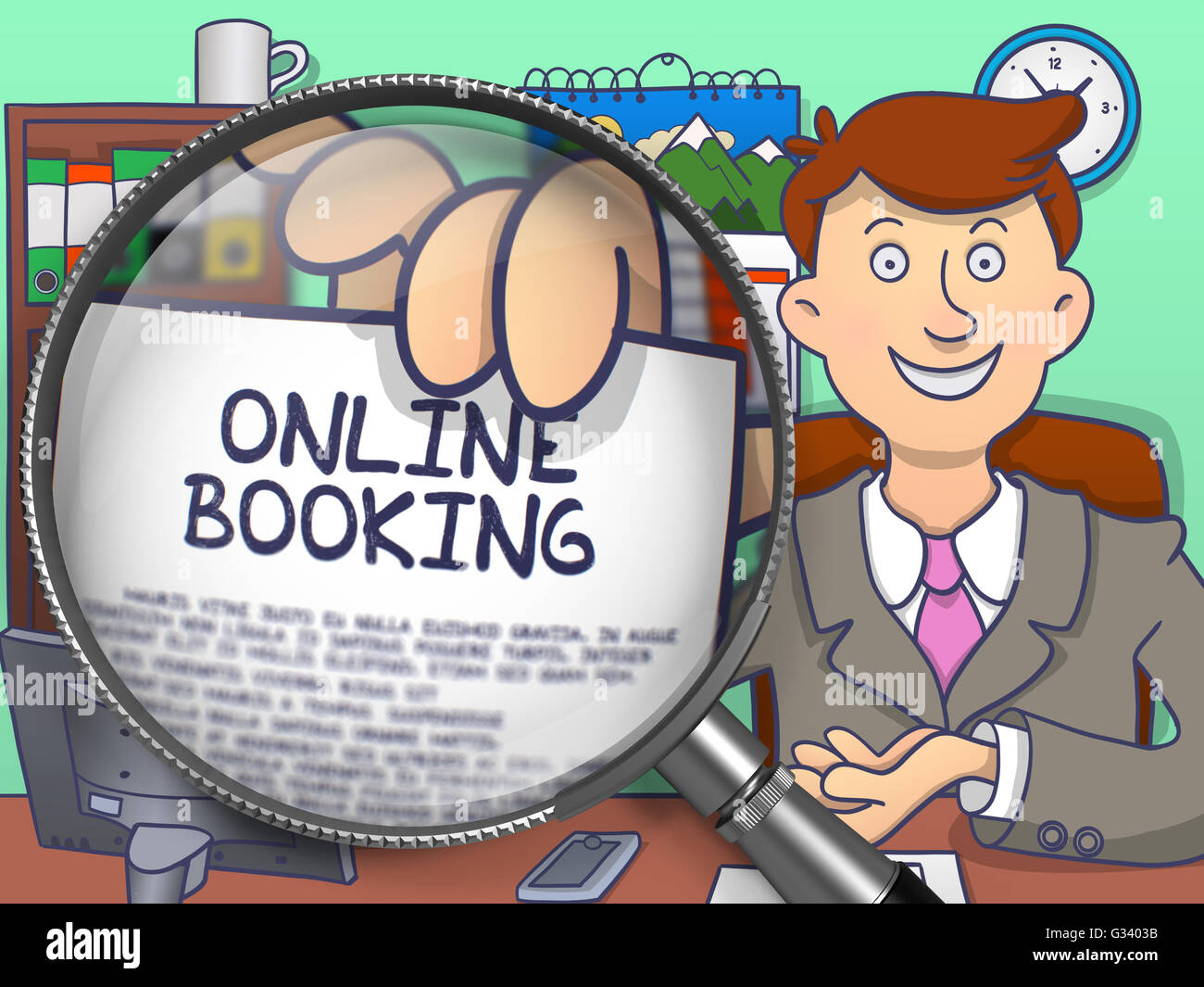 Online Booking through Magnifying Glass. Doodle Style. - Stock Image
