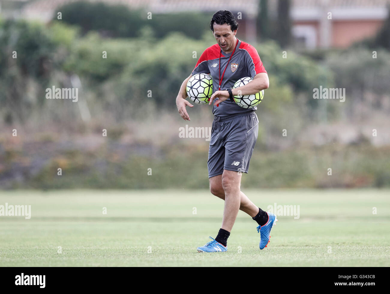 Unai Emery during the preparation of Sevilla FC before starting La Liga - Stock Image