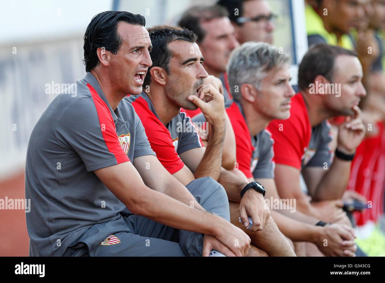 Unai Emery during the preparation of Sevilla FC before starting La Liga - Stock Image