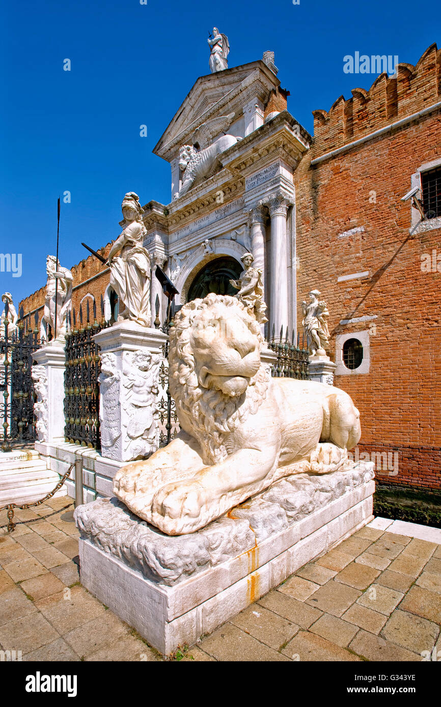 Lion at the Venetian Arsenal, Venice - Stock Image