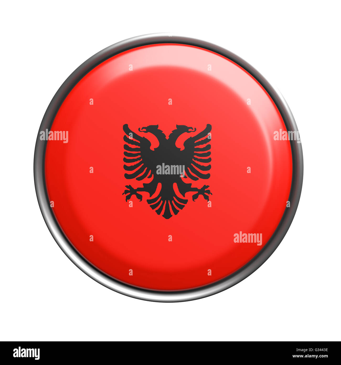 3d rendering of Albania button on white background. - Stock Image