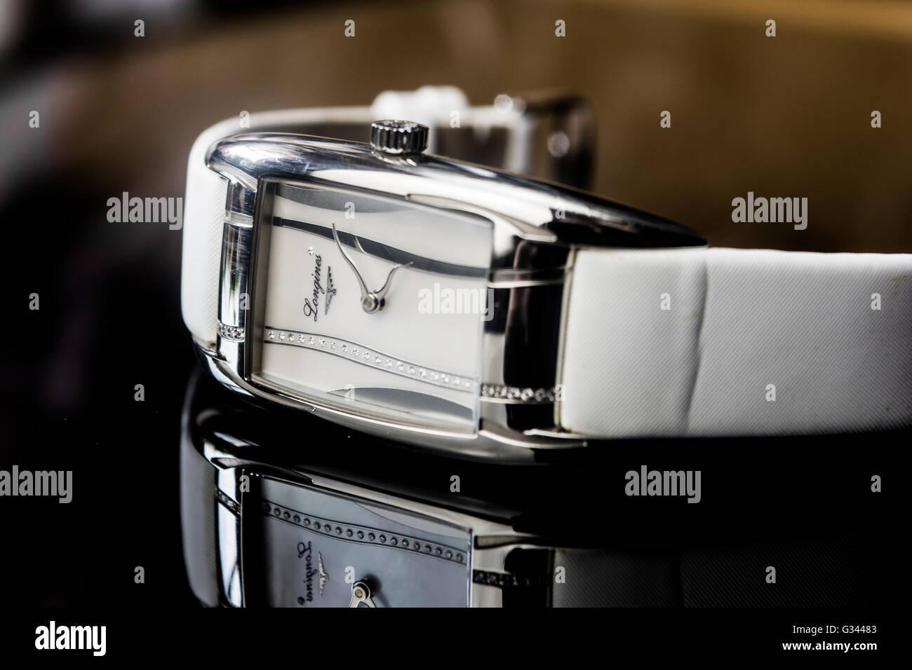 Longines ladies luxury watch jewellery Stock Photo