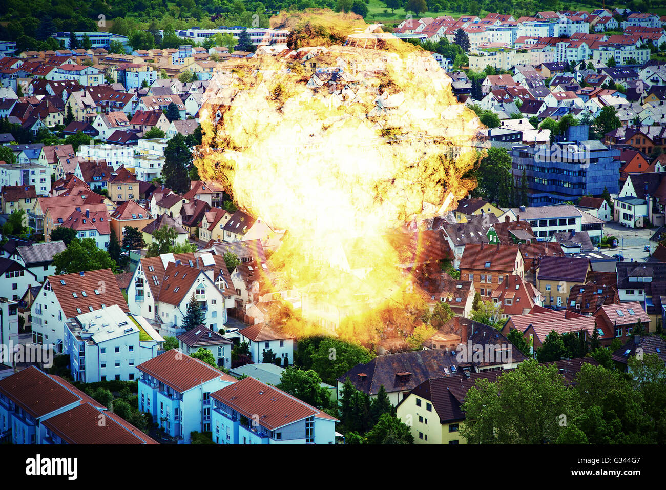 Big explosion in a town - abstract photo - Stock Image