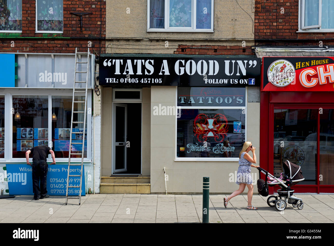 Tattoo parlour in Goole, East Yorkshire, England UK - Stock Image