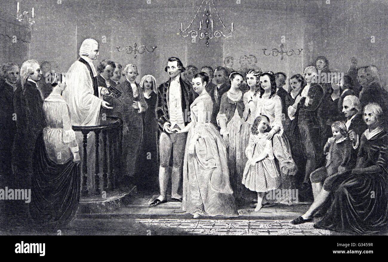 Marriage of George Washington Stock Photo
