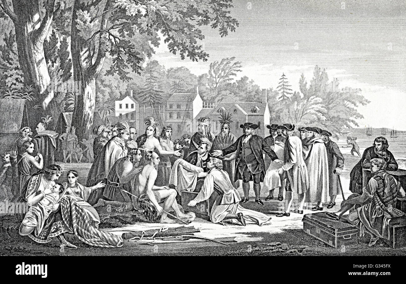William Penn s treaty with the indians natives Stock Photo