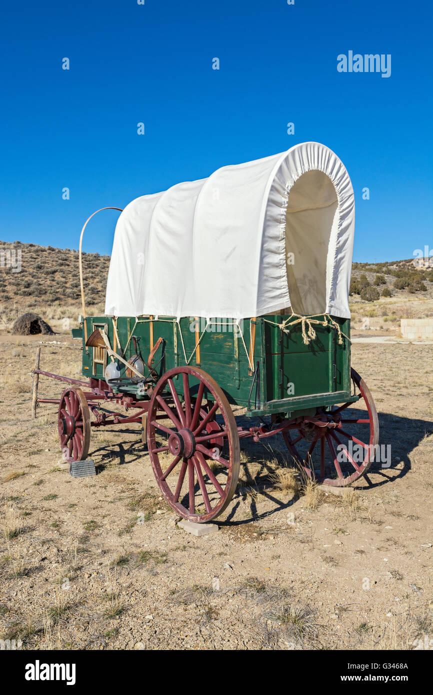 Nevada, Elko, California Trail Interpretive Center, pioneer wagon replica - Stock Image