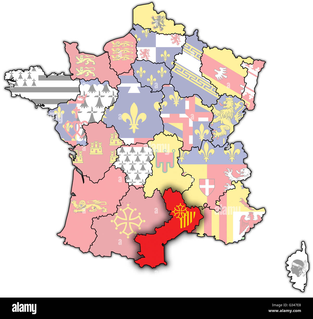 Roussillon France Map.Languedoc Roussillon On Old Map Of France With Flags Of Stock Photo