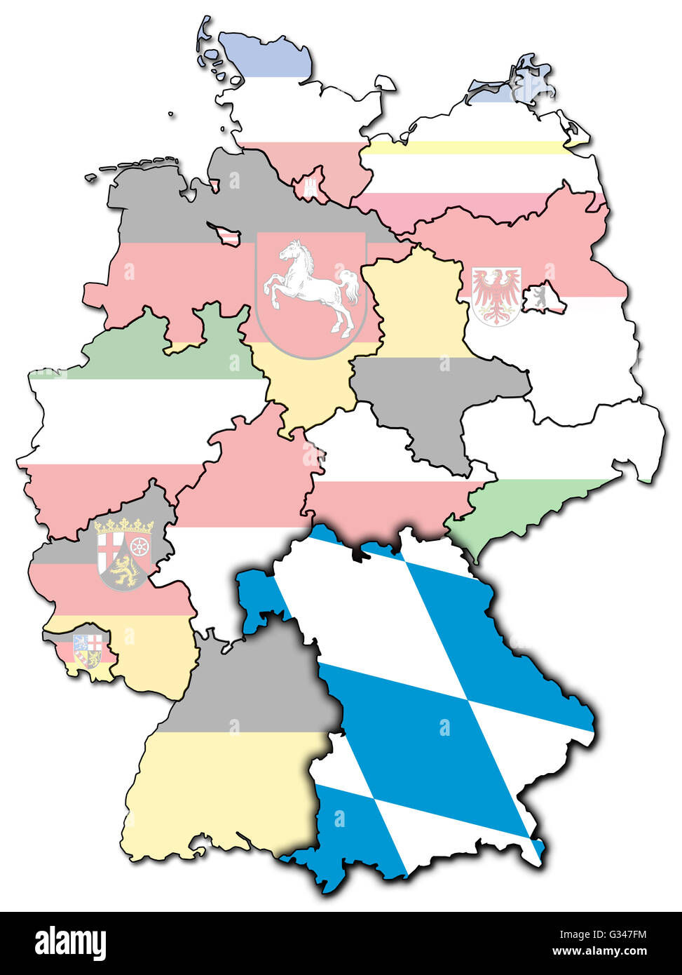 bavaria on old administration map of german provinces states with clipping path