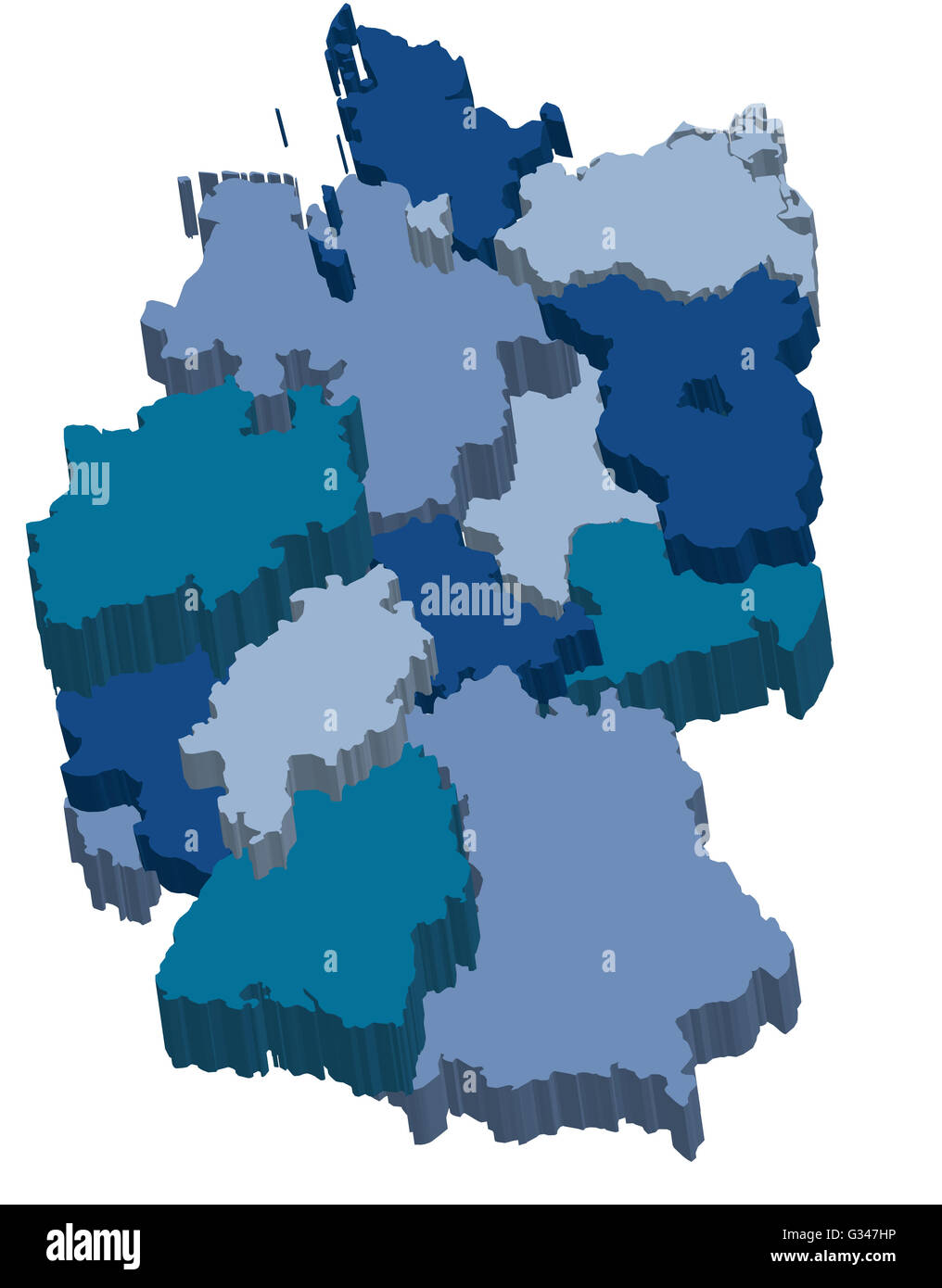 Map Of Germany With Regions.Administration Map Of Germany With 3d Regions In Cold Colors Stock