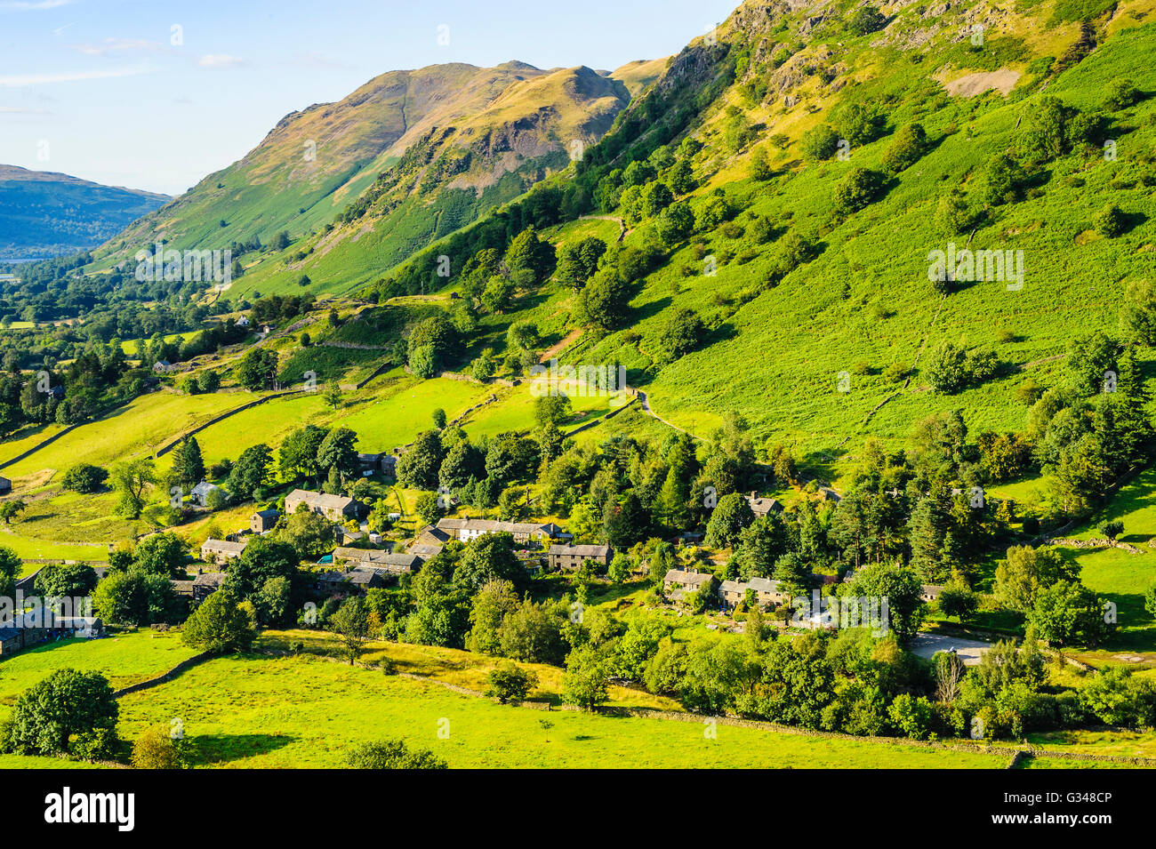 Hartsop village from the slopes of Hartsop Dodd in the eastern fells of the Lake District - Stock Image
