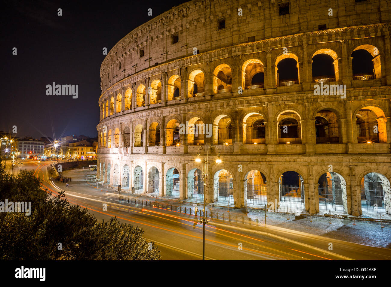 A Long Exposure of the Colosseum at Night in Rome, Italy - Stock Image
