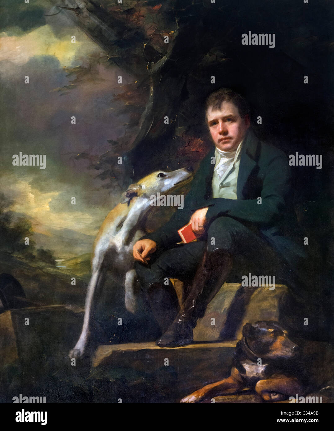Sir Walter Scott (1771–1832) with his Dogs 'Camp' and 'Percy' by Henry Raeburn (1756–1823), oil - Stock Image