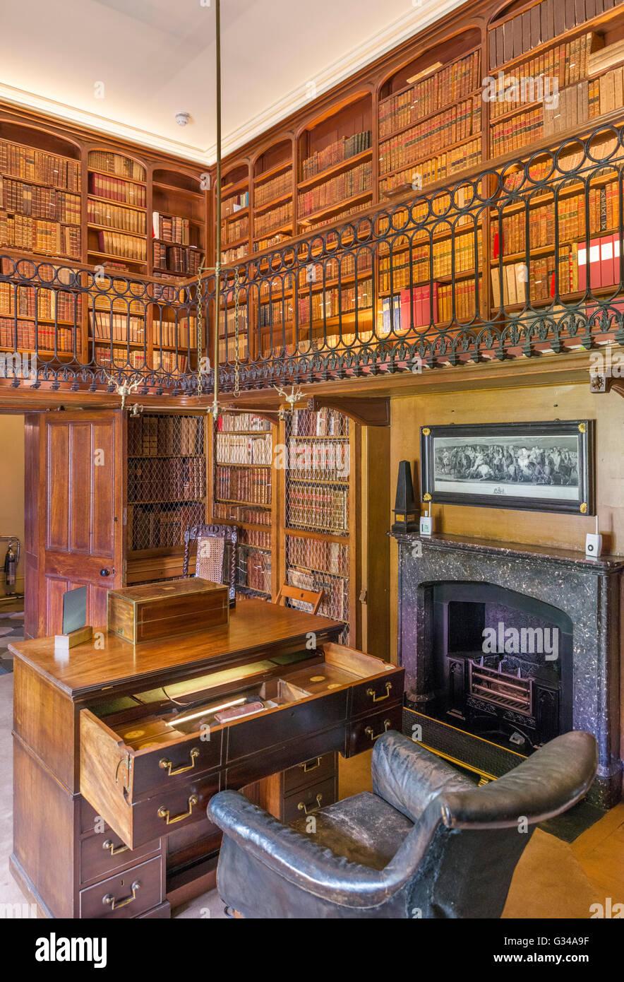 Sir Walter Scott's studiy in Abbotsford House, his former home, near Melrose, Scottish Borders, Scotland, UK - Stock Image