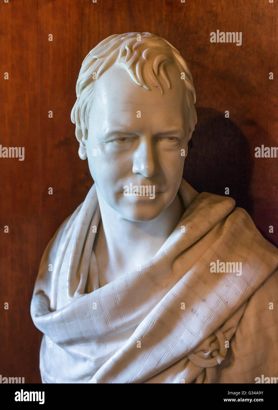 Bust of Sir Walter Scott by Sir Francis Leggatt Chantrey 1821). On display in the library at  Abbotsford House, - Stock Image