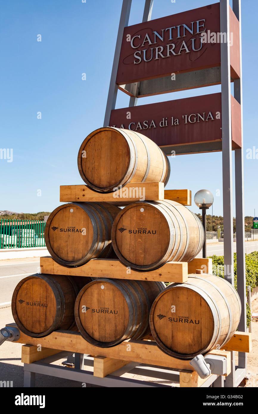 Superieur Wine Barrels Outside Vigne Surrau, Surrau Vineyard, Arzachena, Sardinia,  Italy   Stock