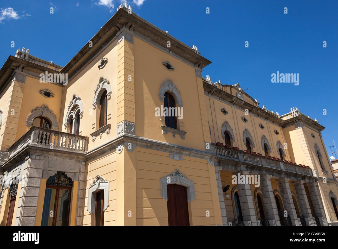 Town hall, Municipio Di Olbia, Olbia, Sardinia, Italy - Stock Image