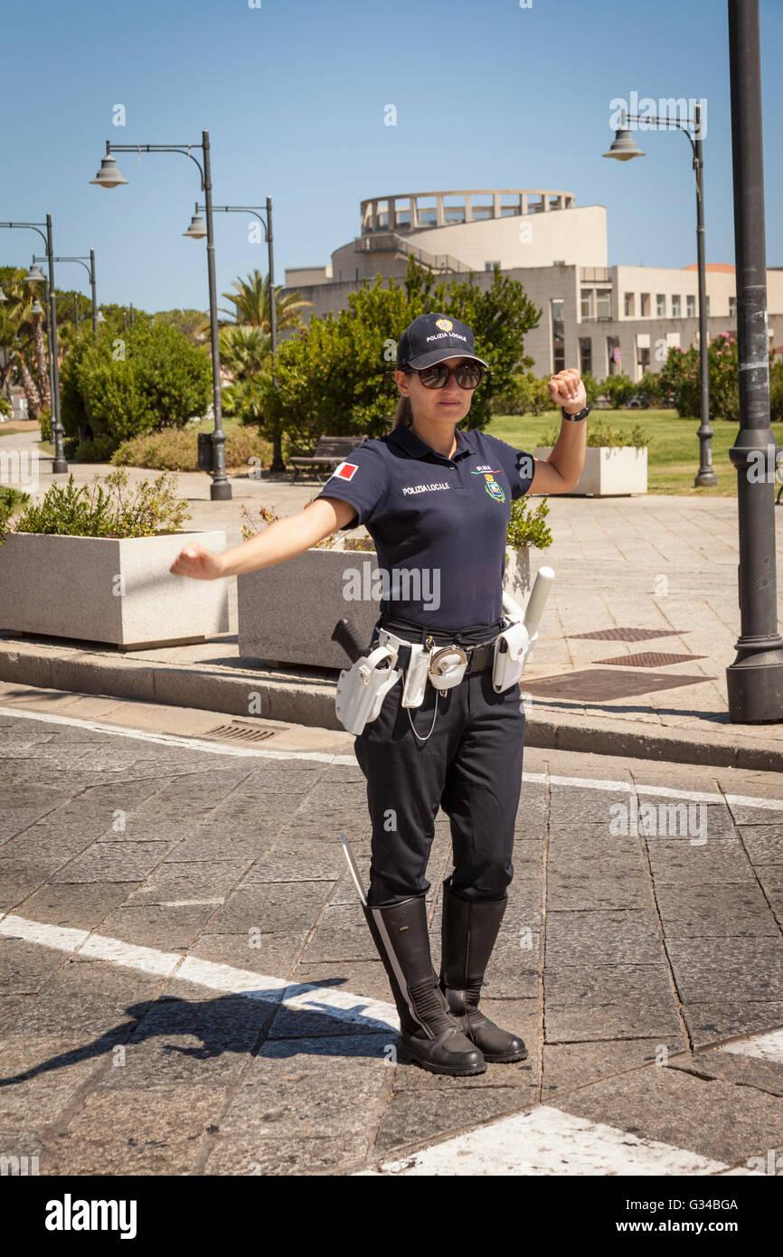 Policewoman, Olbia, Sardinia, Italy - Stock Image
