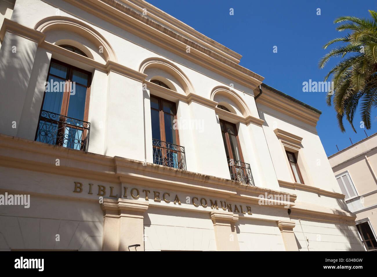 Biblioteca Comunale, Municipal Library, Olbia, Sardinia, Italy - Stock Image