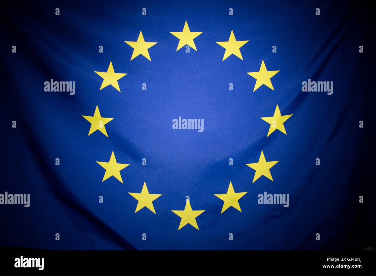 The European Flag - symbol of the European Union, and the Council of Europe. - Stock Image