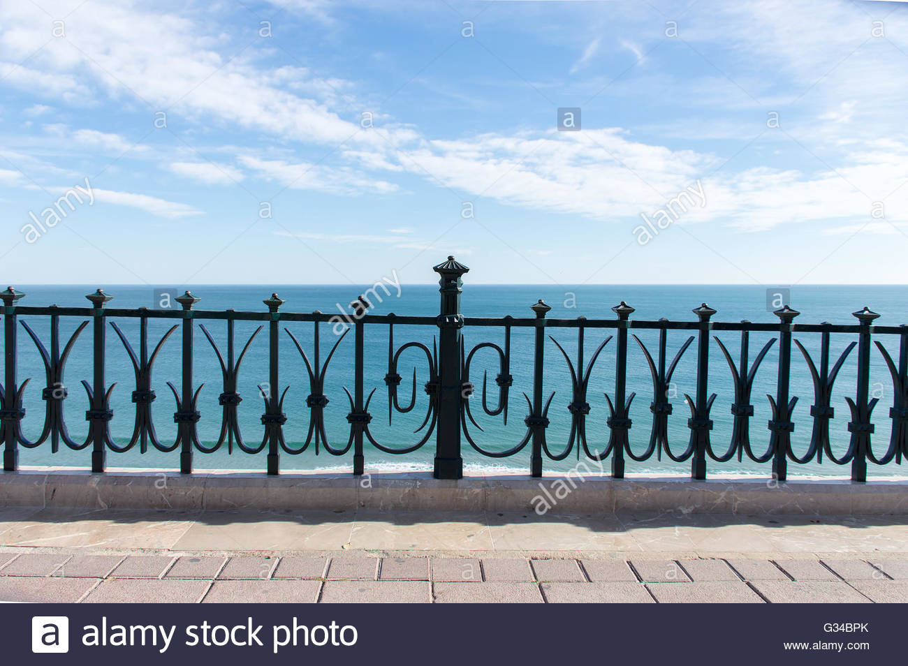 View of Mediterranean Sea from the balcony of Europe at Tarragona Spain - Stock Image
