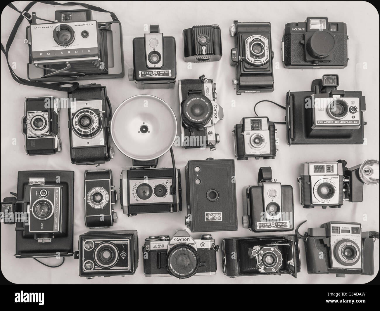 antique camera collection, still life flat lay - Stock Image