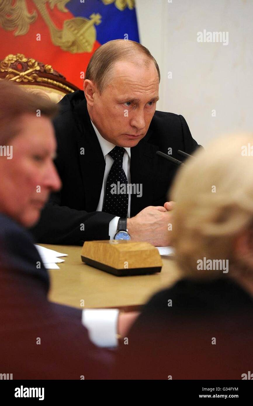 Russian President Vladimir Putin during a government meeting at the Kremlin June 7, 2016 in Moscow, Russia. - Stock Image