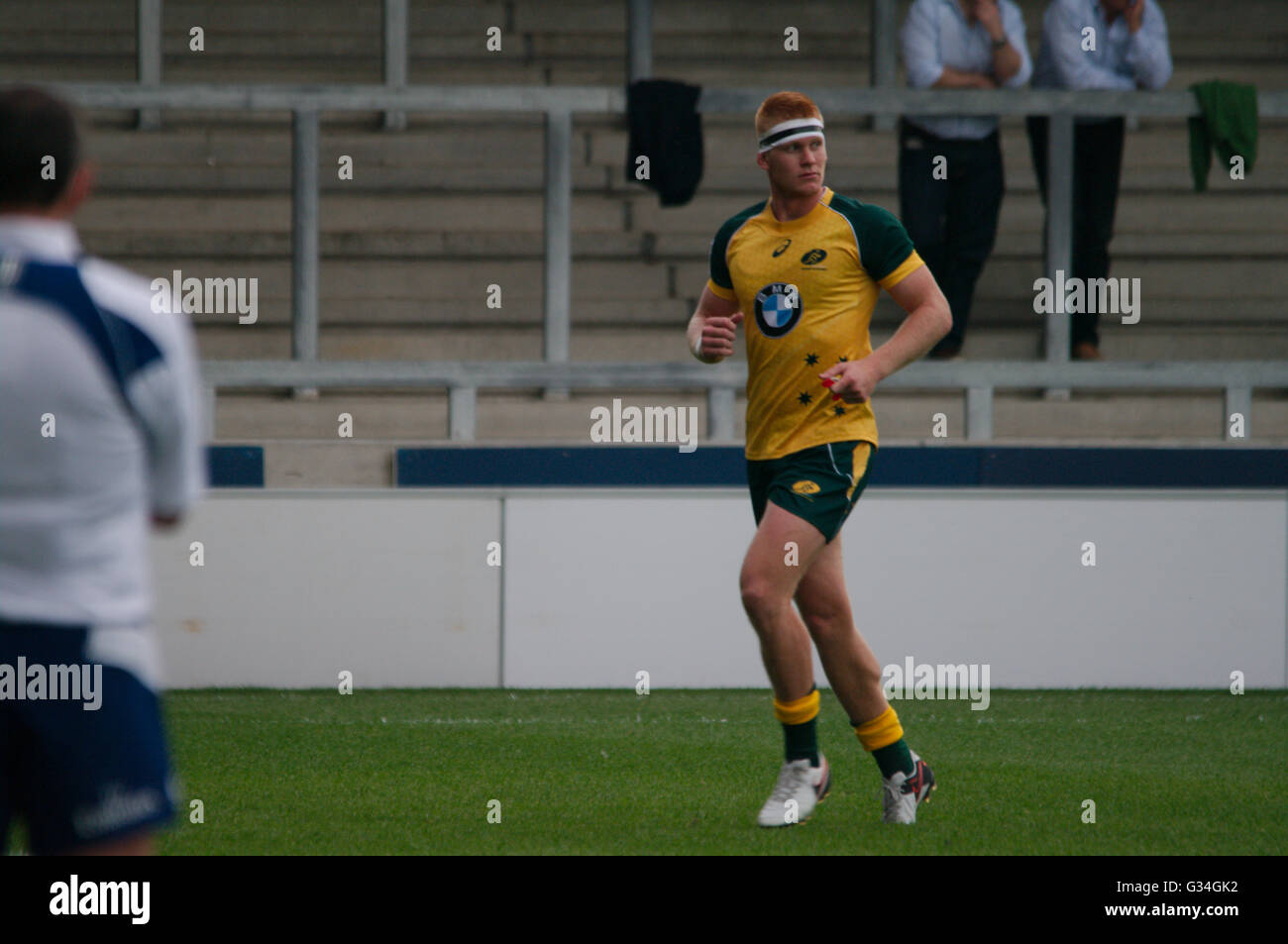 Salford, UK, 7 June 2016. Campbell Magnay of Australia leaving the pitch after being sent off after four minutes - Stock Image