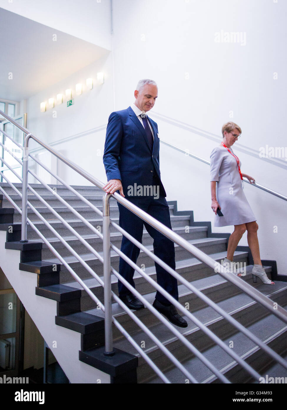 Essen, Germany. 8th June, 2016. Johannes Teyssen, CEO of energy comapny eon, walks down the stairs at the company's Stock Photo
